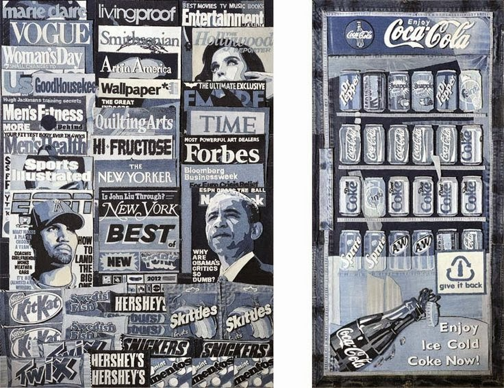 Denim art Textile Newsstand By Ian Berry