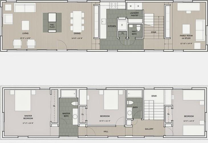 Planos casas modernas plano casa moderna de 3 5 m x 12 m for Planos arquitectonicos de casas modernas