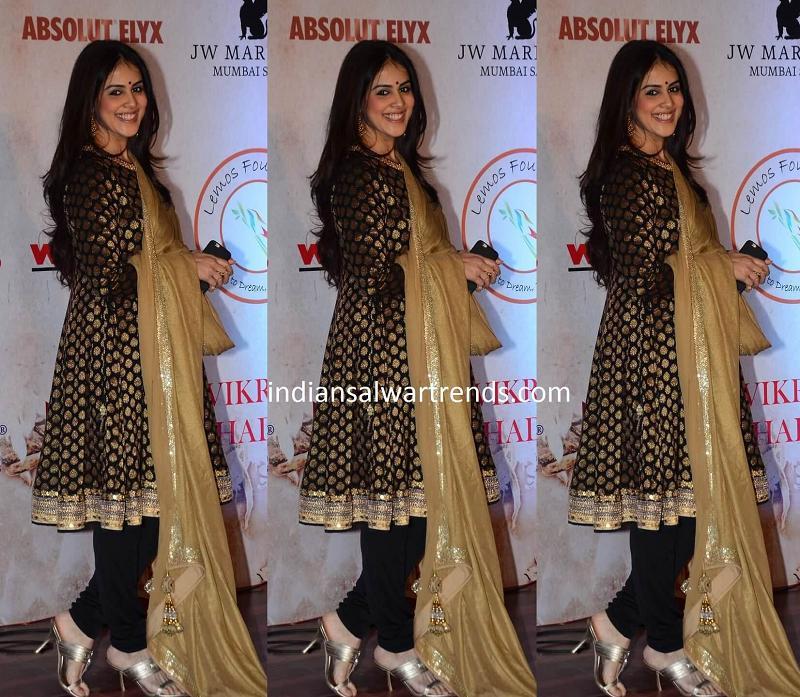 Genelia in Black and Gold Salwar Kameez