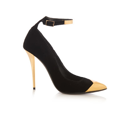 Balmain black and gold two tone ankle strap heeled pumps