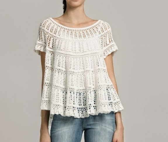 Hermosa Blusa Blanca a Crochet