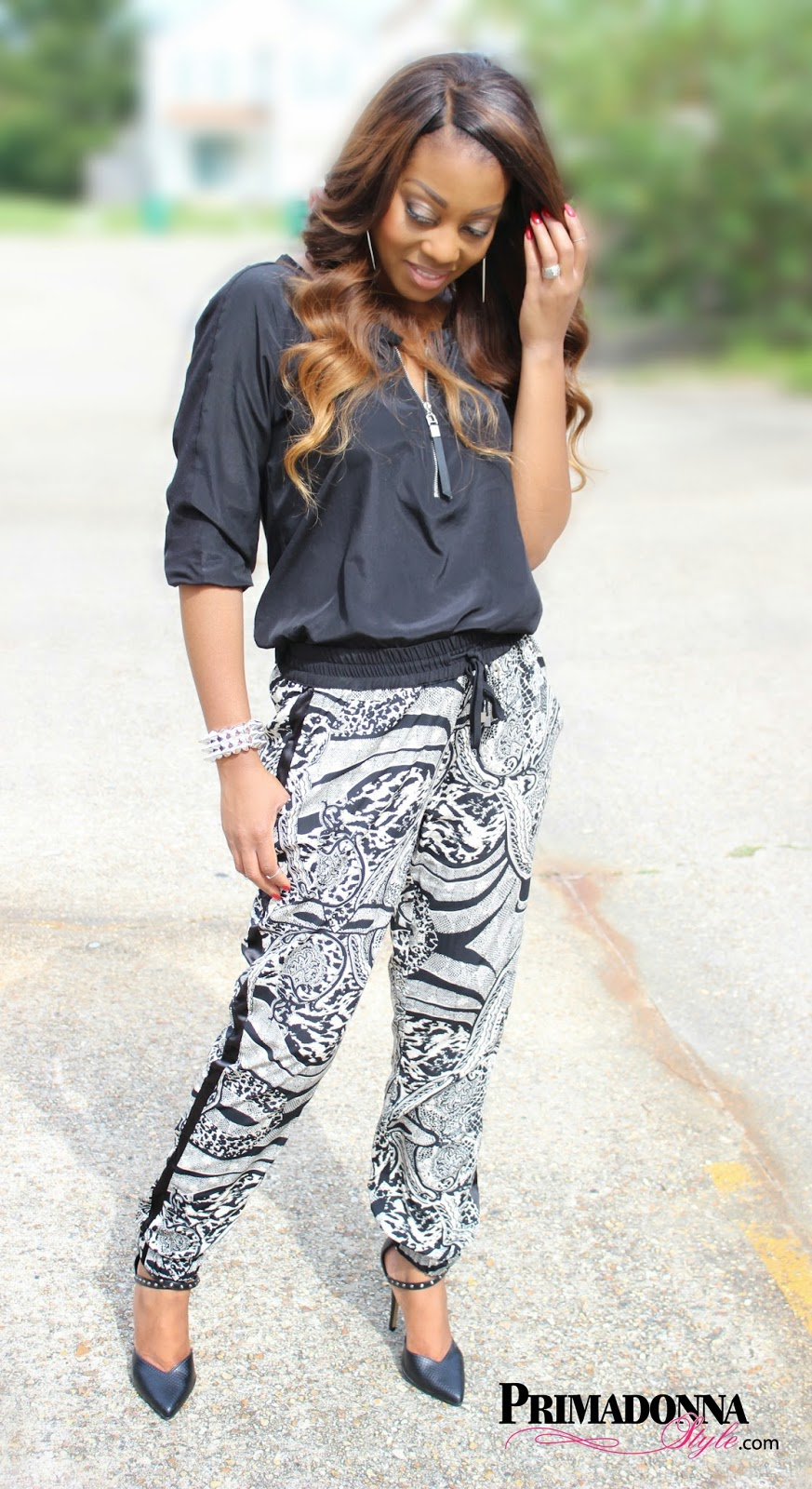 Jennifer Lopez 1/4 Zip Mixed Media Top  i jeans by Buffalo Soft Pant in Black/White Animal Print Rock & Republic Studded Ankle Strap High Heels Silver Spike Bracelet Custom Spiked Earrings