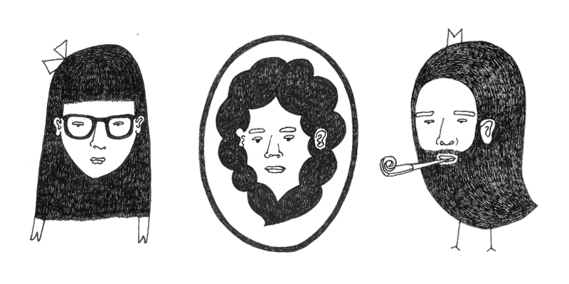 Three character black and white drawings: a girl with long hair and glasses, a woman with curly hair and a man with ling beard and bird's feet