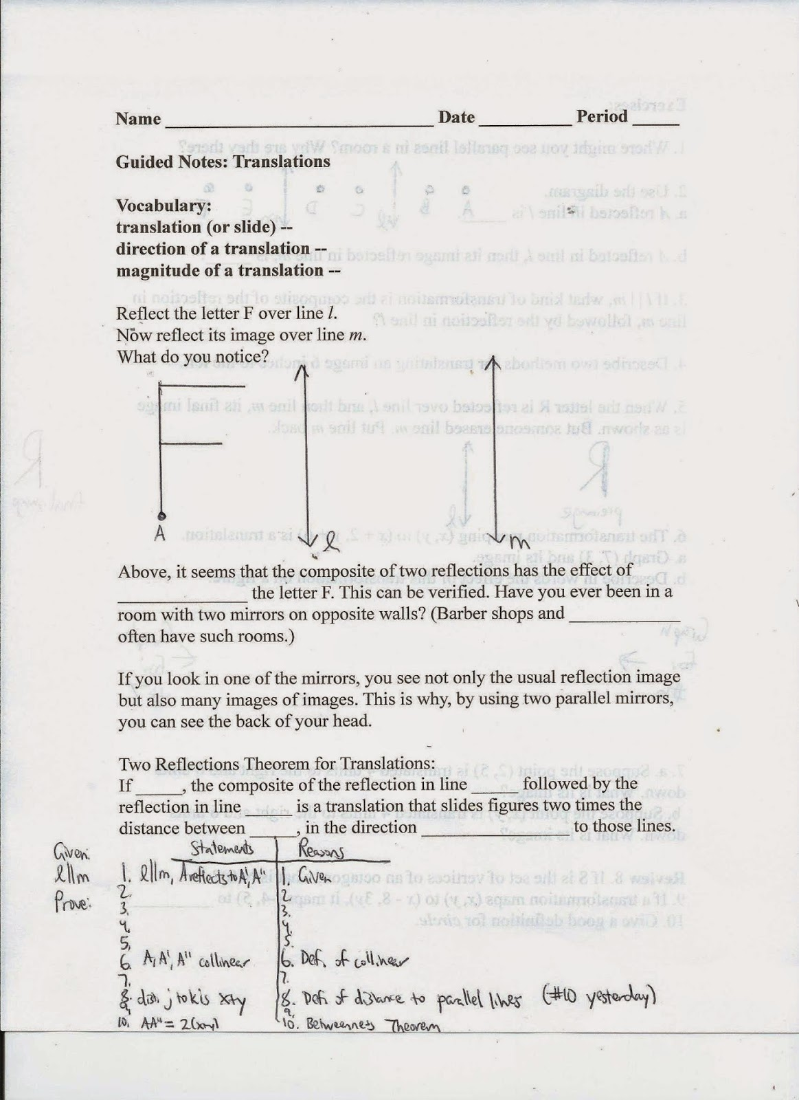 Geometry Mon Core Style Lesson 6 2 Translations On The