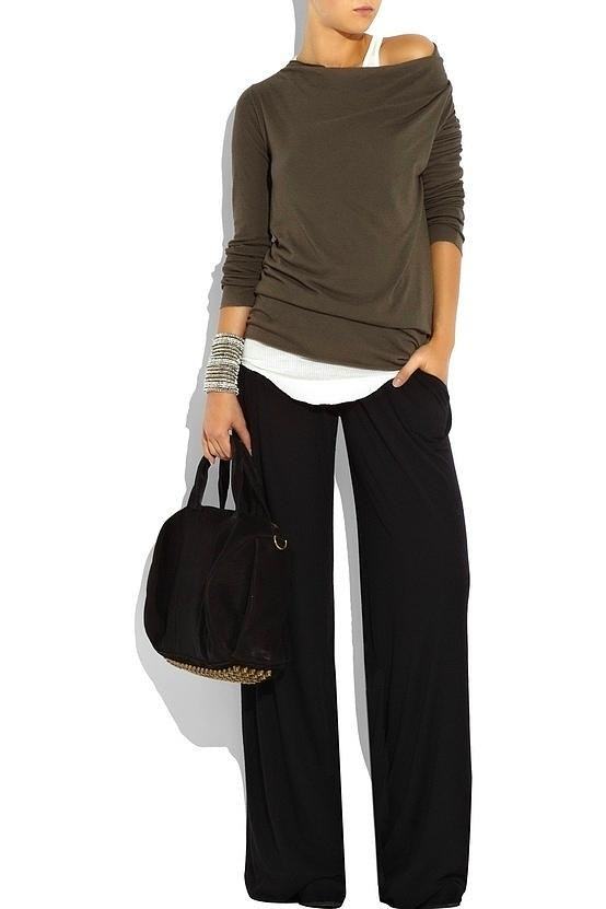 Cute fashion style with wide leg pants