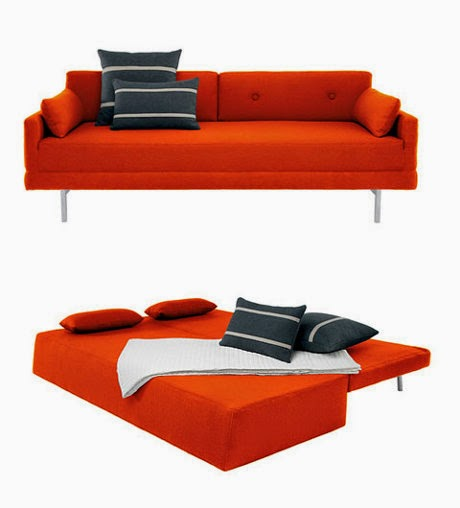 orange modern sleeper sofa bludot
