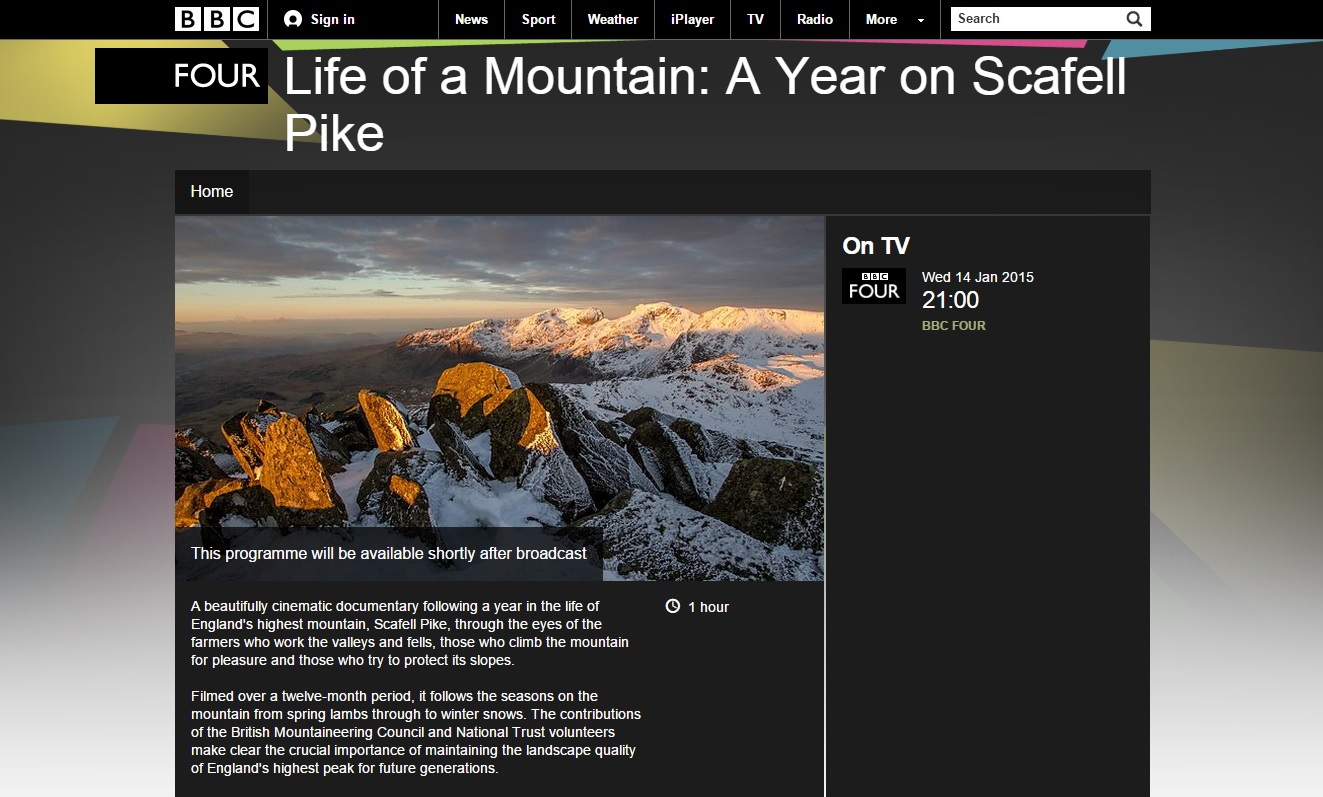 BBC Four Life of a Mountain Scafell Pike Terry Abraham