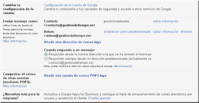 Gmail. Ventana de configuración. Cuentas.