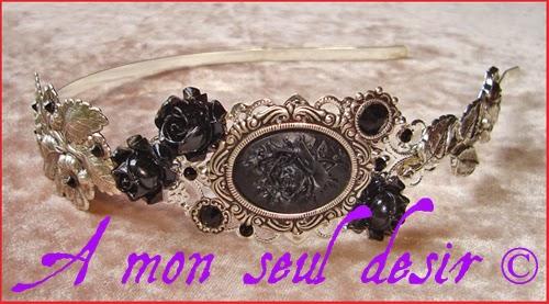 Serre tête camée rose noire bijou accessoire coiffure gothique victorien romantique fleur noire black rose flower gothik gothic goth headband