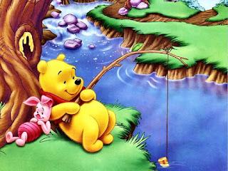 Gambar Winnie The Pooh dan teman-temannya lagi mancing