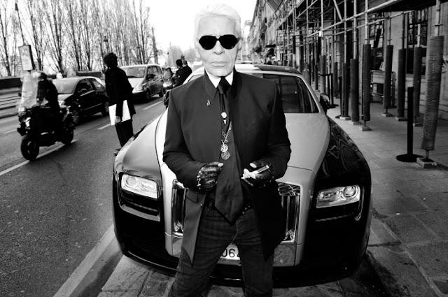 Karl Lagerfeld e una Rolls-Royce Ghost