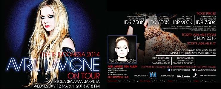 Download Avril Lavigne Gelar Konser di Jakarta, Indonesia Maret 2014 ini