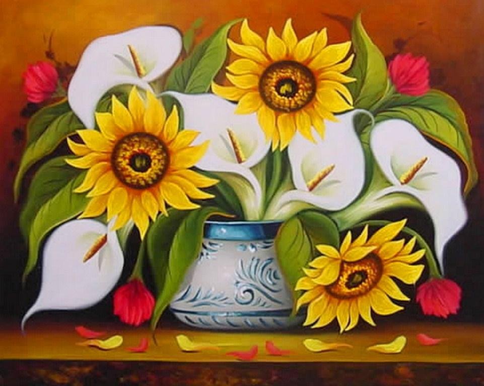 Floreros Pintura Oleo Cuadros De Flores Al Oleo Sobre Lienzo Cuadros