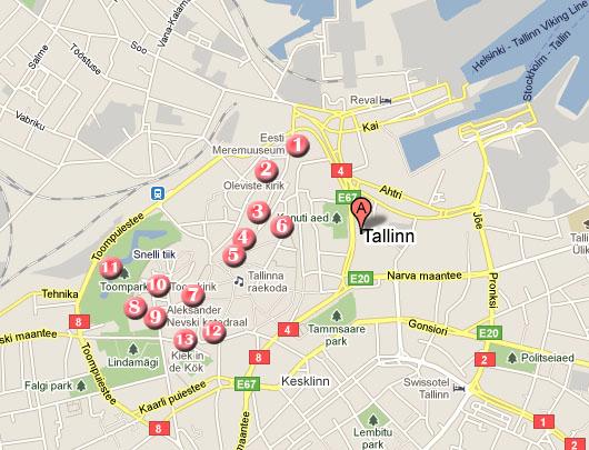 mapa ruta por tallin en un dia