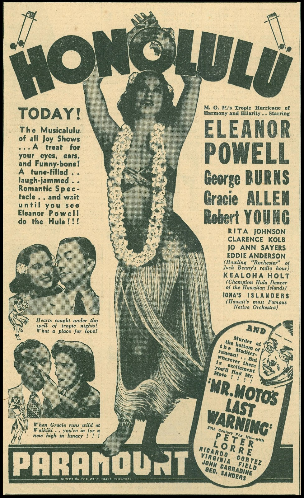 Honolulu Film Poster Featuring Peter Lorre and Mr. Moto's Last Warning