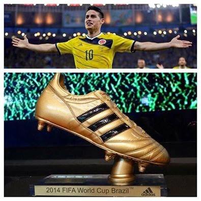 جيمس رودريجز يتوج بجائزة أفضل هداف في مونديال كأس العالم بالبرازيل