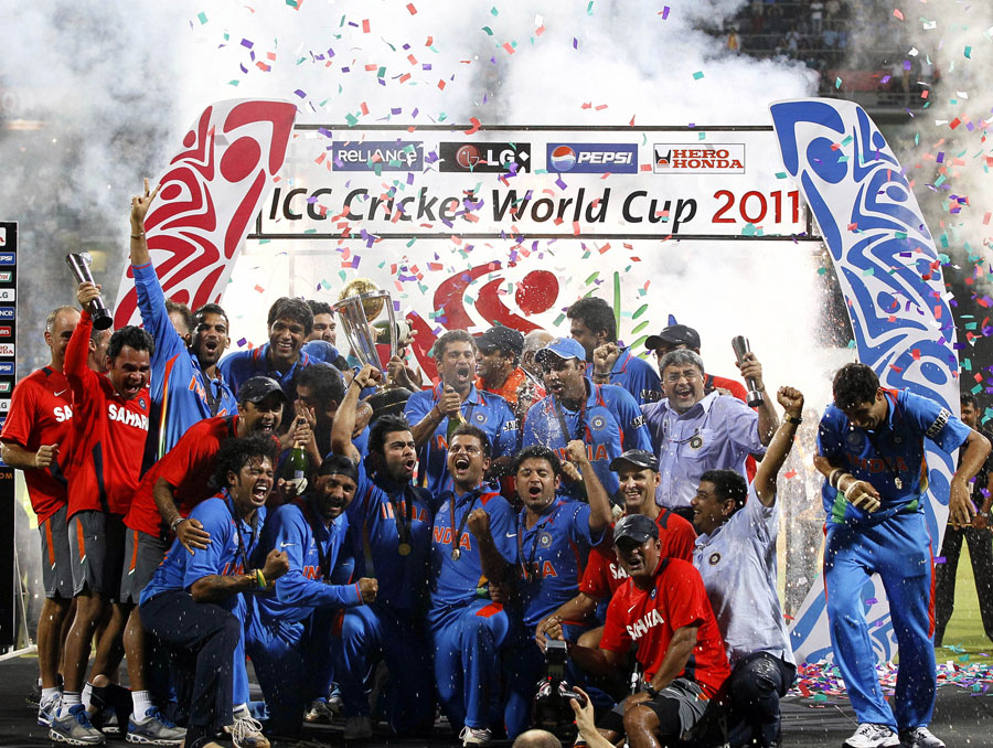 The Indian cricket team celebrates the World Cup triumph