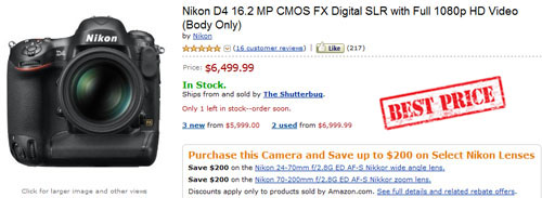 Cheap Nikon D4 best price 2012