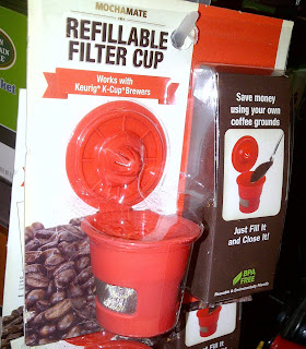 Plastic cup- fill it with coffee grounds and use it in a Keurig K-cup brewer