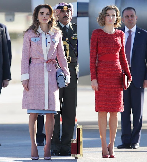 King Felipe and Queen Letizia of Spain Receive King Abdullah and Queen Rania of Jordan at Barajas Airport
