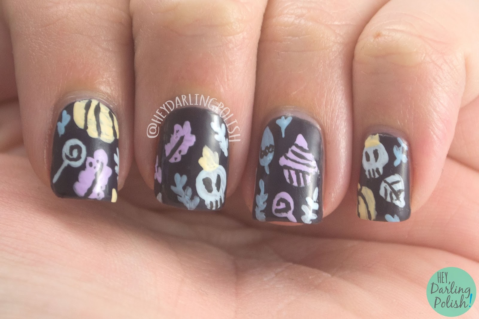 nails, nail art, nail polish, Halloween, pumpkins, Hey Darling Polish, hobby polish bloggers,