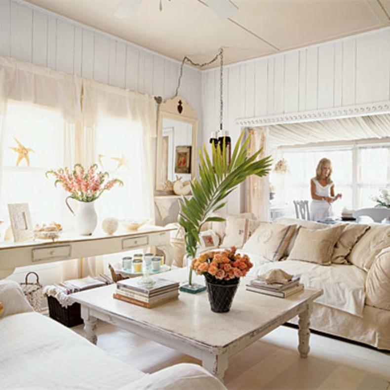 shabby chic slipcover sofa in coastal living room