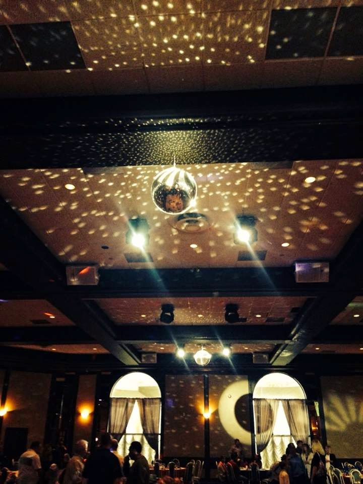 Banquet, banquet hall, disco ball, strobe lights