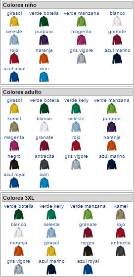 Imagen: Colores disponibles por tallas: niños, adultos, XL - forro dakota