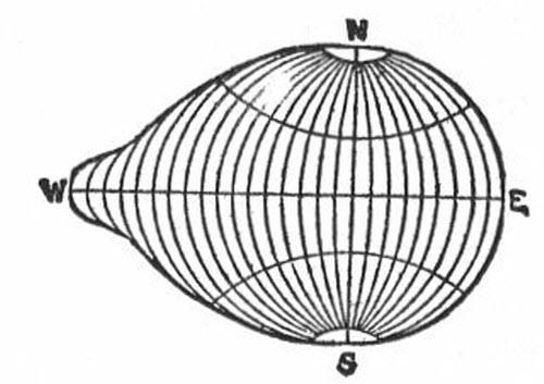 """Colón murió creyendo que el mundo tenía forma de pera o de teta con un pezón. A la derecha tenéis un dibujo de la idea extraído del libro de William Fairfield Warren, """"Paradise found, the cradle of the human race at the North Pole,"""" Houghton, Mifflin edition, 1885."""