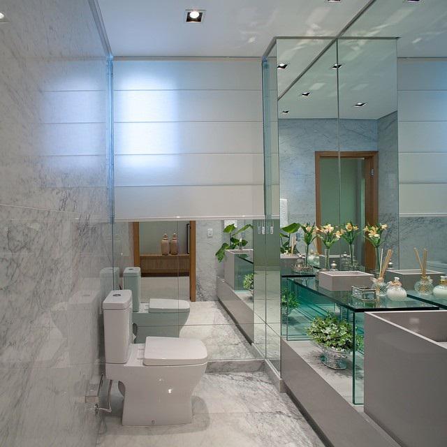 Lavabos cinzas modernos  veja modelos maravilhosos e dicas!  Decor Salteado -> Decoracao Banheiro Cinza