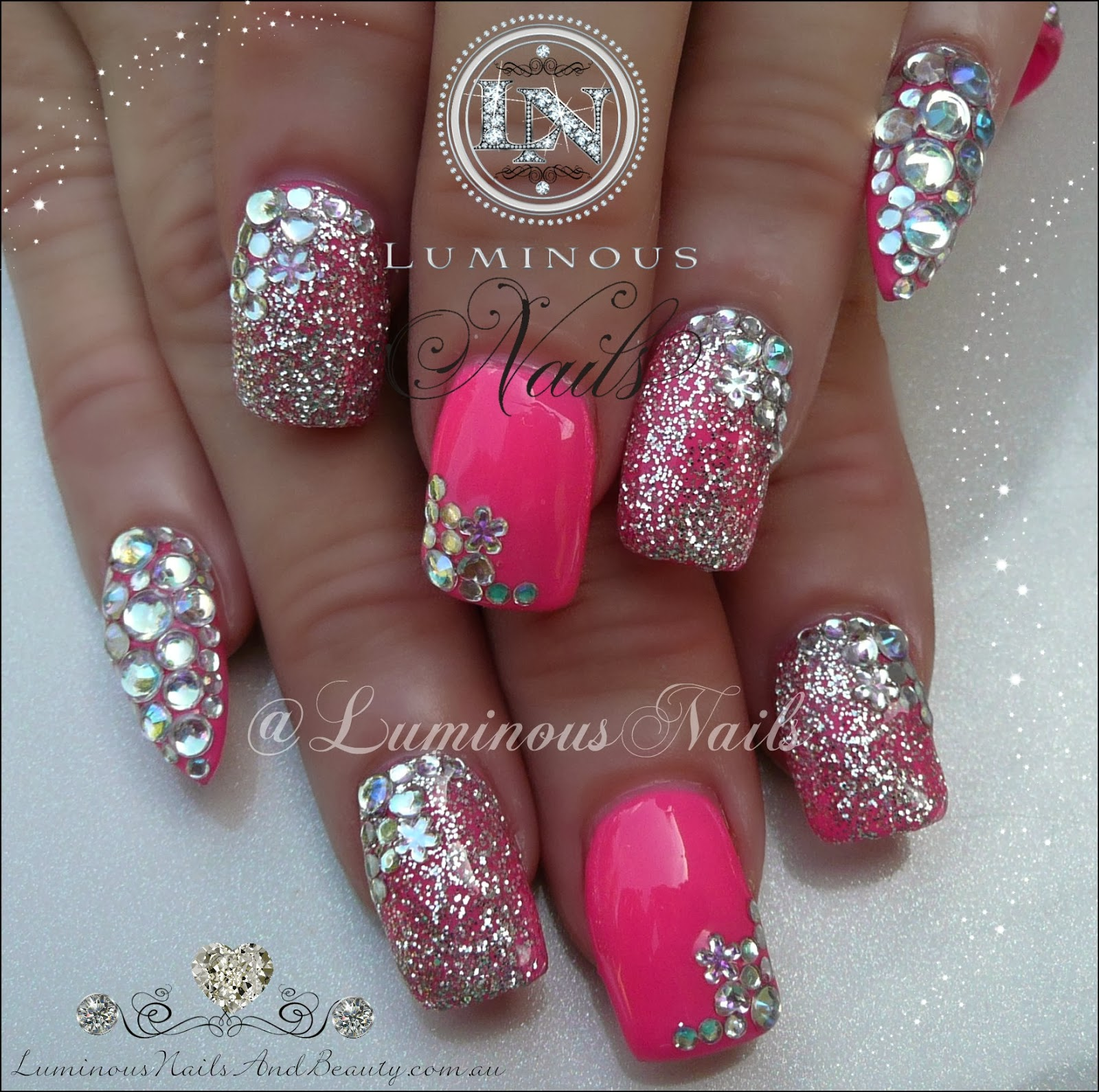 Acrylic nail designs with bling : Hot pink nails with silver bling