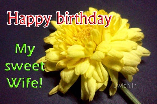Happy Birthday e greetings and wishes for sweet wife with yellow flowers.