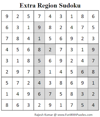 Extra Region Sudoku (Fun With Sudoku #74) Solution