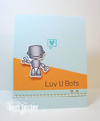 Luv U Bots card-designed by Lori Tecler/Inking Aloud-stamps and dies from Paper Smooches