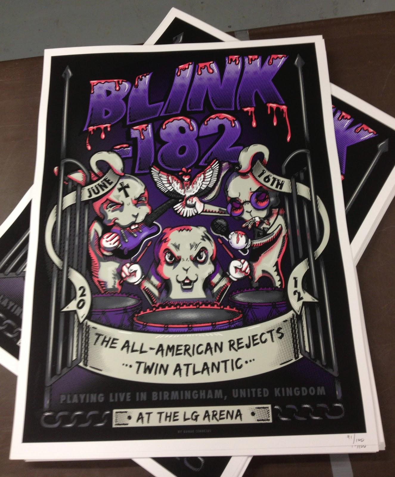 BLINK 182 concert gig poster 20 YEARS 1992-2012 silkscreen print Emek