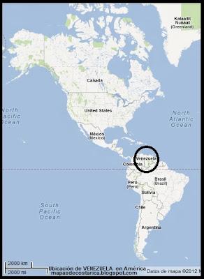 Ubicación de VENEZUELA en América, Google Maps