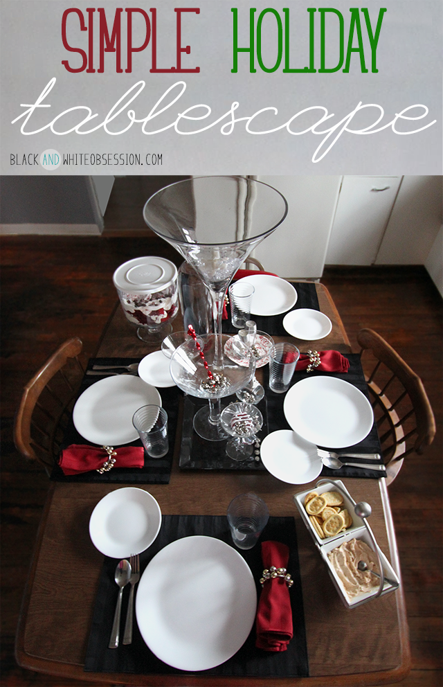 Black and White with a Dash of Red Simple Holiday Tablescape