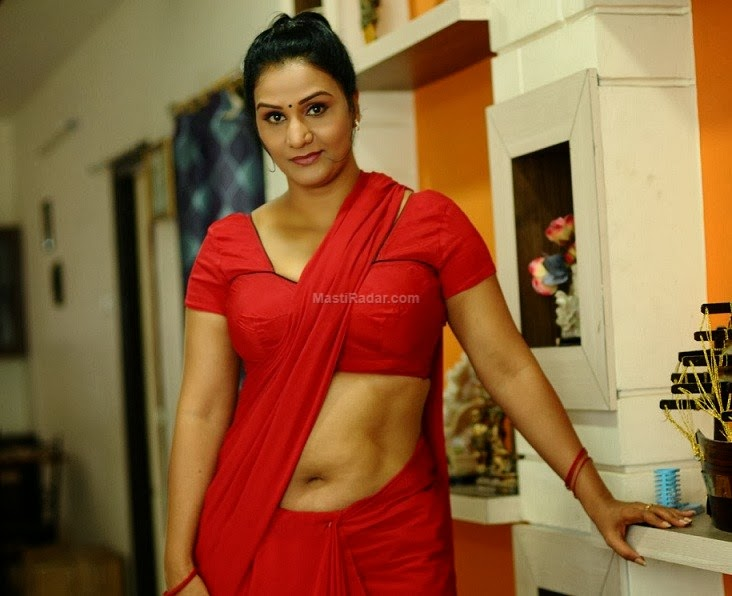Apoorva Aunty Latest Spicy Hot Navel Show Stills in Red Saree - Hot ...