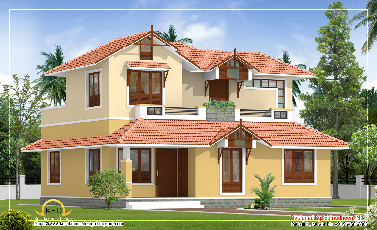 Beautiful sloping roof house elevation 1840 sq ft for Beautiful villas images