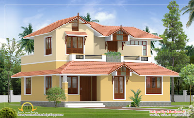 Sloping Roof House Elevation - 171 Sq M (1840 Sq. Ft) - January 2012