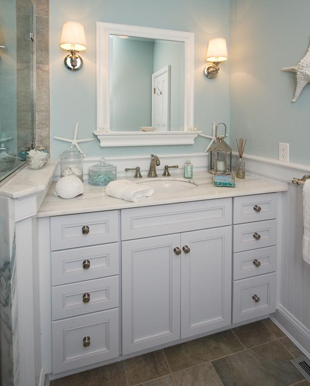 Delorme designs nautical bathrooms for Small coastal bathroom ideas