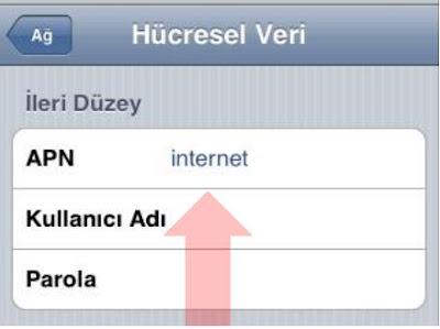 Turkcell APN Ayarları iPhone