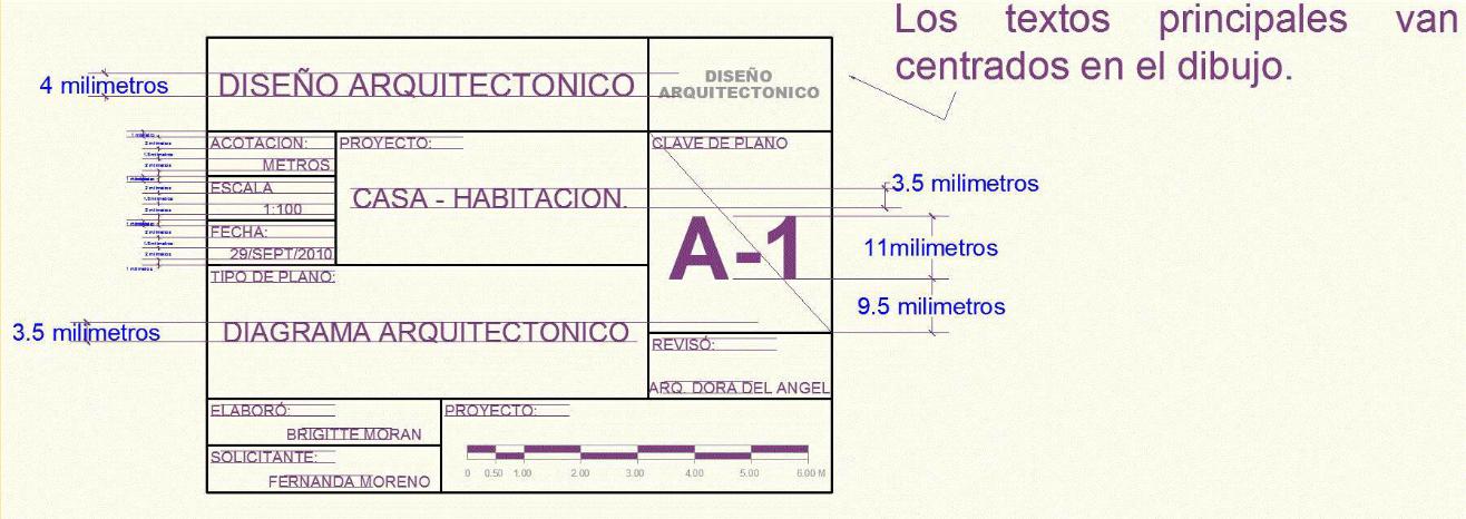 Dibujo de proyectos ejecutivos en la construccion for Pie de plano arquitectonico