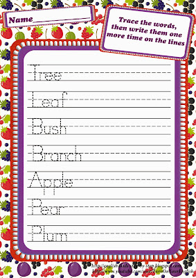 fruit berries handwriting worksheet
