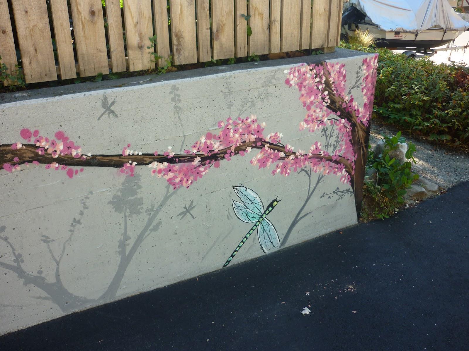 Dobell signs cherry blossom mural for Cherry blossom mural