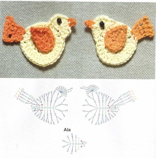 Pássaro de crochê para aplicação