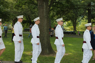West Point Cadets wearing India Whites, Ring Ceremony