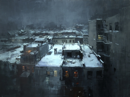 21-Rooftops-in-the-Snow-Jeremy-Mann-Figurative-Painting-in-Cityscapes-Oil-Paintings-www-designstack-co