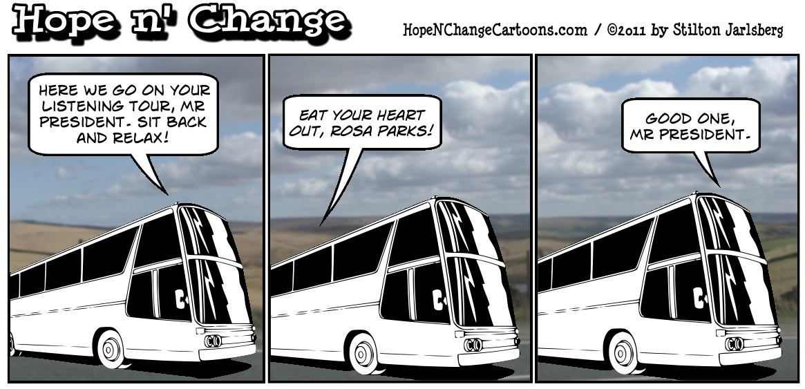 Barack Obama compares himself to Martin Luther King before starting his 3 day bus tour of the midwest, hopenchange, hope n' change, hope and change, tea party, stilton jarlsberg
