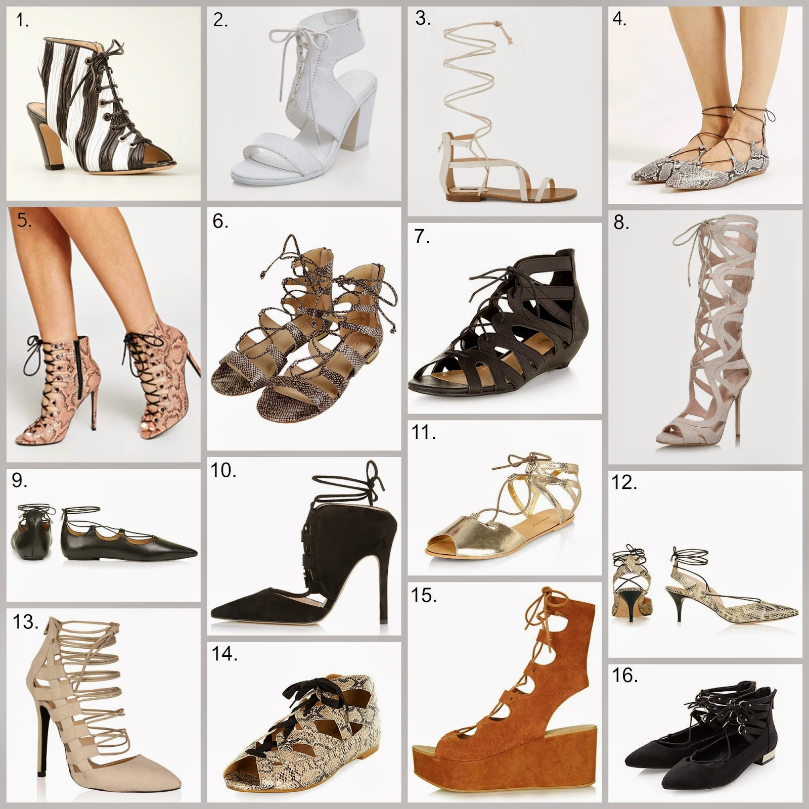 hot new trend - lace up and ghillie shoes available on the highstreet and online in neutral colours